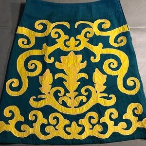 Boden A Line Teal Gold Appliqué Skirt Sz 8 R